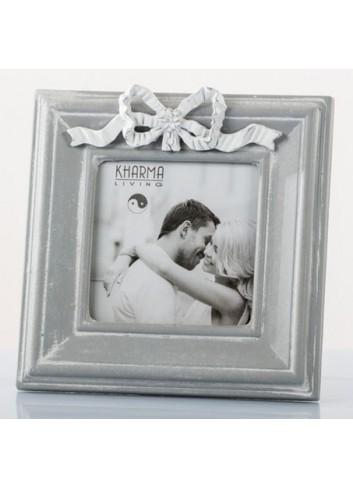 Portafoto Shabby con fiocco 10 x 10 cm E3199 Kharma Living