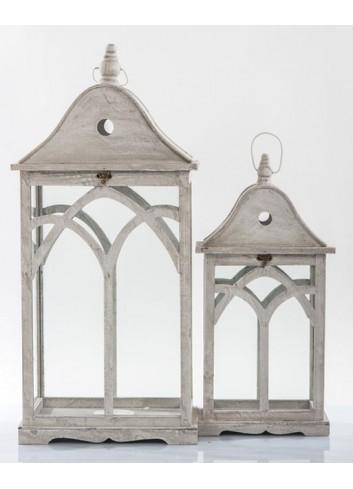 Set 2 Lanterne grigie in legno E3446 Kharma Living