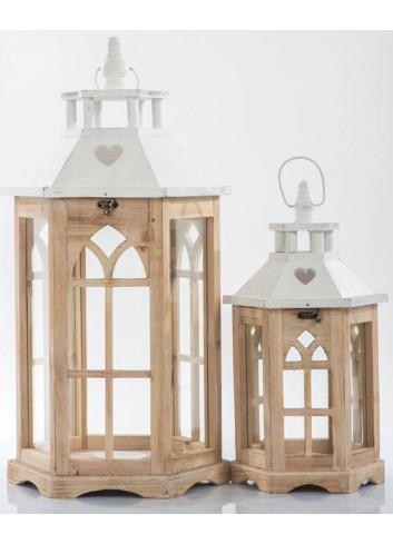 Set 2 Lanterne in legno E3444 Kharma Living