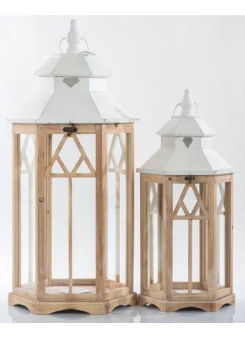 Set 2 Lanterne in legno E3443 Kharma Living
