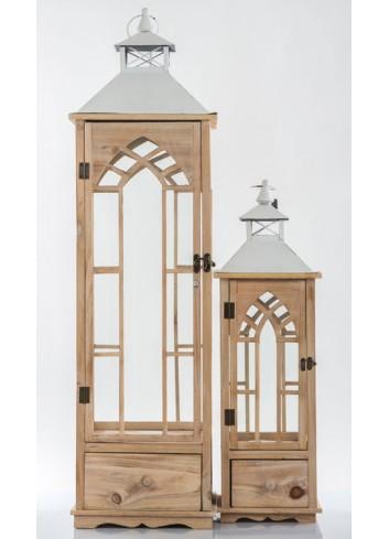 Set 2 Lanterne in legno E3442 Kharma Living