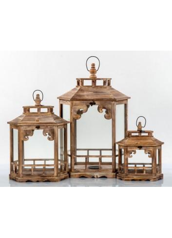 Set 3 Lanterne in legno E3331 Kharma Living