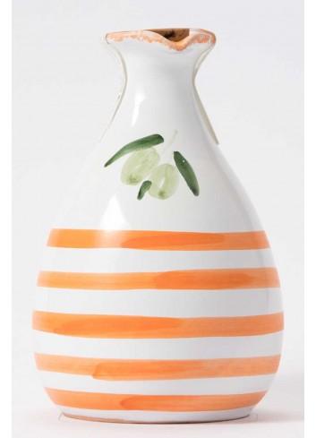 Orcetto in terracotta - decoro arancio con olio extravergine di oliva ORCE100/025 Linea Oliera Lamantea