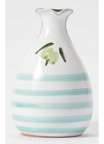 Orcetto in terracotta - decoro celeste con olio extravergine di oliva ORCE100/025 Linea Oliera Lamantea