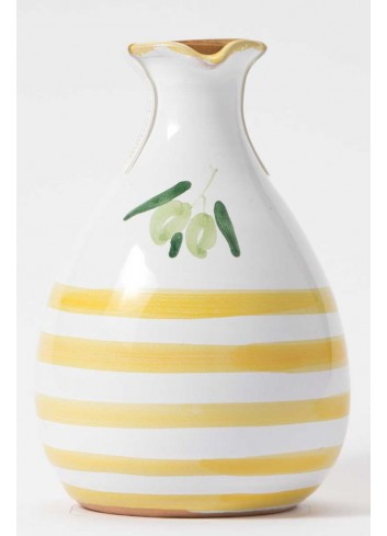 Orcetto in terracotta - decoro giallo con olio extravergine di oliva ORCE100/025 Linea Oliera Lamantea