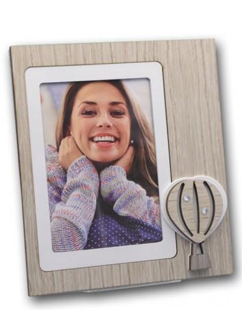 Portafoto in legno e metallo con appl. Mongolfiera MNG-01-1-3 Serie Mongolfiera Negò