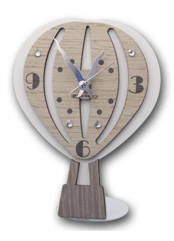 Orologio in legno e metallo con appl. Mongolfiera + strass MNG-03-06 Serie Mongolfiera Negò