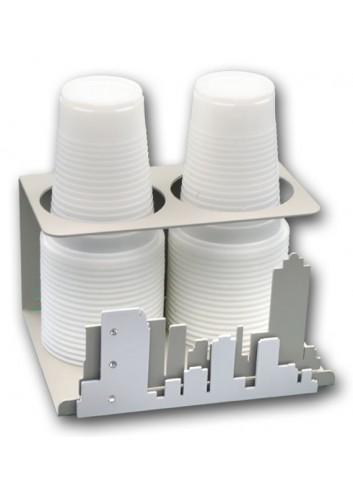 Portabicchieri doppio in metallo con applicazione City + strass NYC-09 Serie City Casa Negò