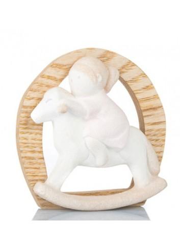 Bimba su cavallo a dondolo in gres e legno B9372 Kharma Living