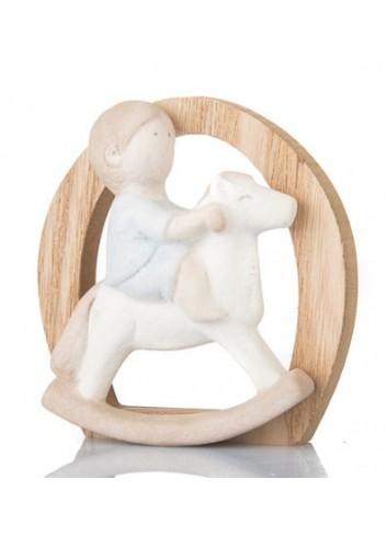 Bimbo su cavallo a dondolo  in gres e legno B9371 Kharma Living