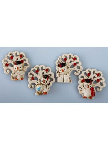 Magnete Gufetto Laurea con Albero della vita 4 soggetti assortiti C1981 Kharma Living