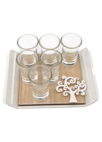 Vassoio con base in rovere + applicazione Albero della vita + strass + 6 bicchierini SRA-05 Serie Sara Negò