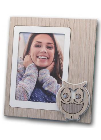 Portafoto Gufo in metallo e legno + strass CIV-01-1-3 Serie Gufo 2020 Negò