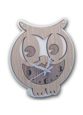 Orologio Gufo in metallo e legno + strass CIV-03-06 Serie Gufo 2020 Negò