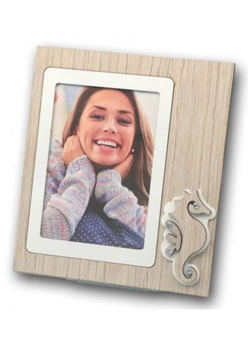 Portafoto Cavalluccio marino in metallo e legno + strass ARE-01-1-3 Serie Cavalluccio Negò