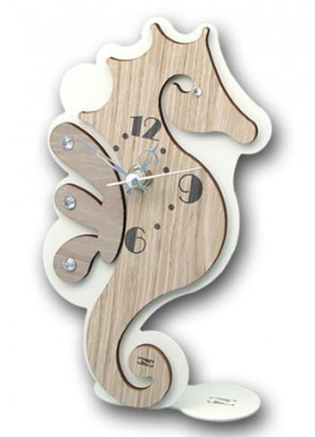 Orologio Cavalluccio marino in metallo e legno + strass ARE-03-06 Serie Cavalluccio Negò