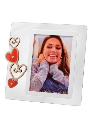 Portafoto in plexiglass trasparente + cuori in legno con strass HEA-01-1-3 Serie Heart Negò
