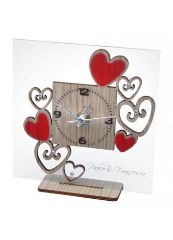 Orologio in plexiglass trasparente e legno + cuori con strass HEA-03-08-06 Serie Heart Negò