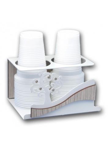 Portabicchieri doppio in metallo con applicazione Albero della vita + strass CNZ-09 Serie Albero Casa Negò