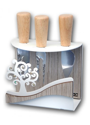 Portacoltellini in metallo con applicazione Albero della vita + strass + 3 coltellini CNZ-PC Serie Albero Casa Negò