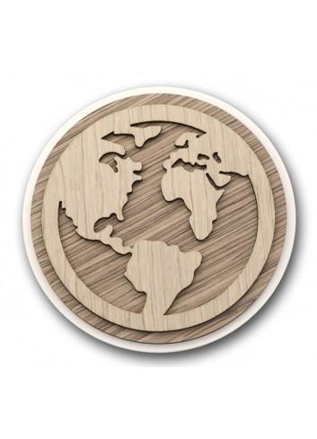 Sottopentola tondo in metallo e legno + applicazione Mondo in legno STP-21 Serie Sottopentola 2020 Negò