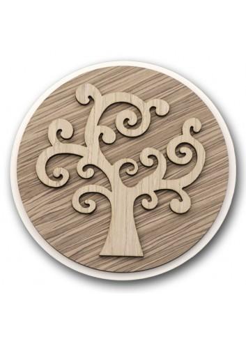 Sottopentola tondo in metallo e legno + applicazione Albero della vita in legno STP-19 Serie Sottopentola 2020 Negò