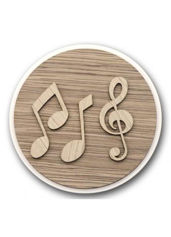 Sottopentola tondo in metallo e legno + applicazione Musica in legno STP-18 Serie Sottopentola 2020 Negò