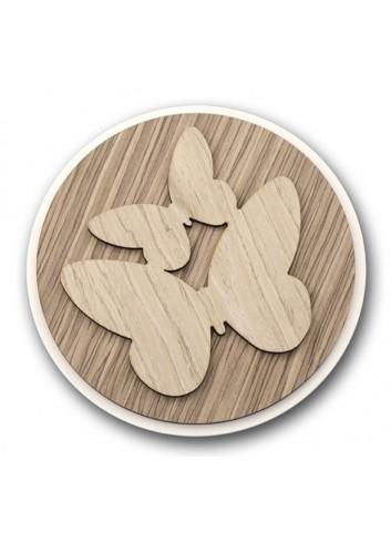 Sottopentola tondo in metallo e legno + applicazione Farfalle in legno STP-17 Serie Sottopentola 2020 Negò