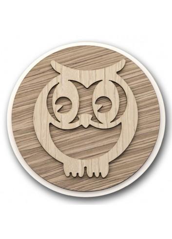 Sottopentola tondo in metallo e legno + applicazione Gufo in legno STP-22 Serie Sottopentola 2020 Negò