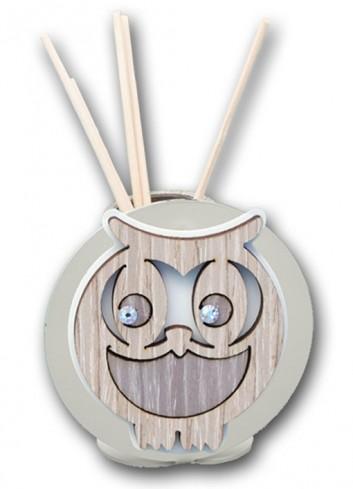 Profumatore in metallo con applicazione Gufo in legno + strass LIT-01G-02G Serie Little Negò
