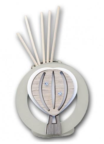 Profumatore in metallo con applicazione Mongolfiera in legno + strass LIT-01M-02M Serie Little Negò