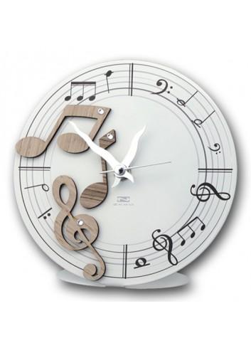 Orologio in metallo con applicazioni Note Musicali in legno + strass FLO-03-08-06 Serie Florida Negò