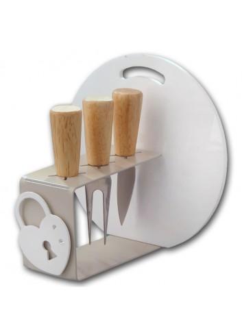 Portacoltellini + tagliere + 3 coltellini + magnete Lucchetto CUT-03-3 Serie Cut Negò