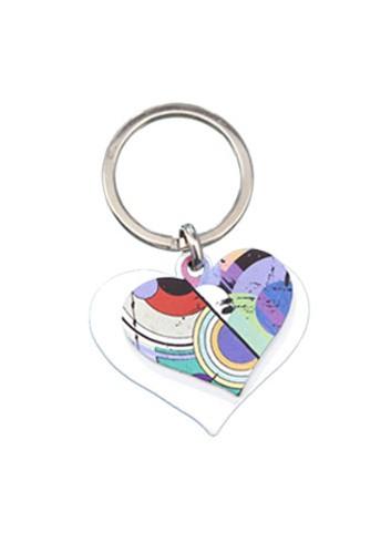 Portachiavi doppio in metallo - Cuore bianco + Cuore multicolor DY-01/LO Serie Candy Negò