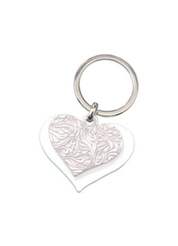 Portachiavi doppio in metallo - Cuore bianco + Cuore stile Barocco DY-02/LO Serie Candy Negò