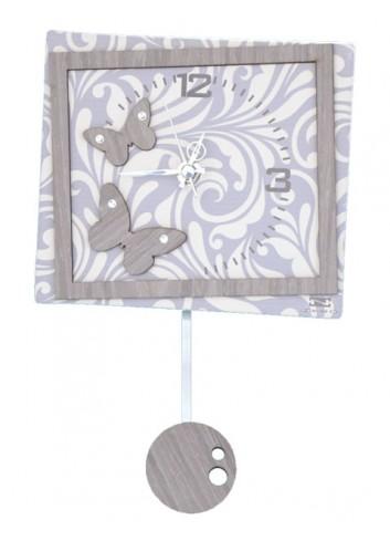 Orologio a pendolo Cinzia in ceramica + appl. in legno Farfalle con strass PND-12 Serie Pendoli 2020 Negò