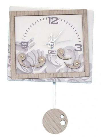 Orologio a pendolo Luisella in ceramica + appl. in legno con strass PND-11 Serie Pendoli 2020 Negò