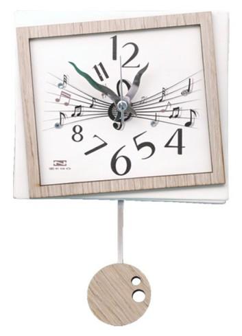 Orologio a pendolo Musica in ceramica + appl. in legno con strass PND-07 Serie Pendoli 2020 Negò