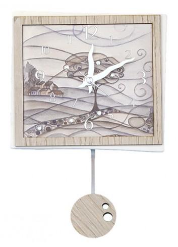 Orologio a pendolo Paesaggio in ceramica + appl. in legno con strass PND-08 Serie Pendoli 2020 Negò