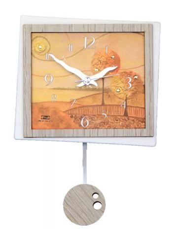 Orologio a pendolo Paesaggo Autunno in ceramica + appl. in legno con strass PND-09 Serie Pendoli 2020 Negò