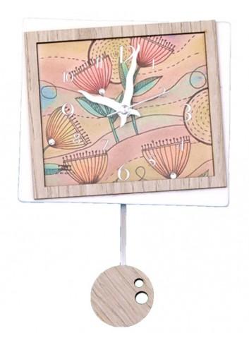 Orologio a pendolo Spring in ceramica + appl. in legno con strass PND-10 Serie Pendoli 2020 Negò