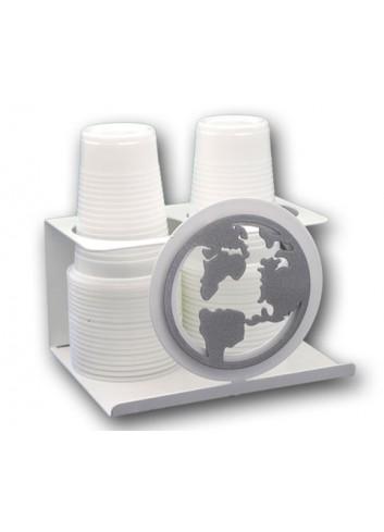 Portabicchieri doppio in metallo + appl. Mondo MON-09 Serie World 2020 Negò