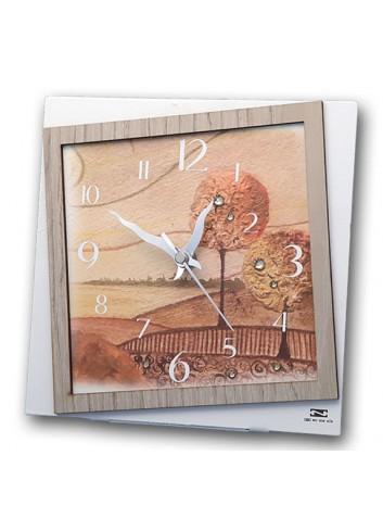 Orologio da appoggio in metallo e legno con stampa Paesaggio Autunno + strass PAUT-03-08-06 Serie Paesaggio Autunno Negò