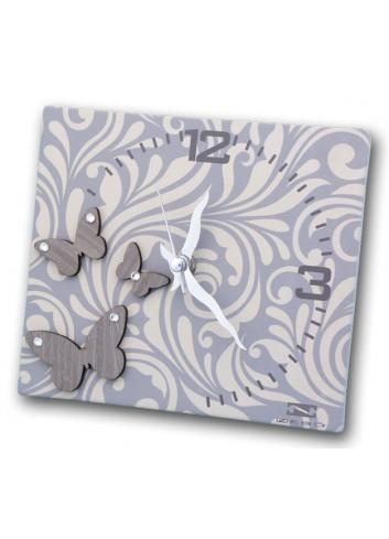 Orologio in ceramica con stampa + appl. farfalle in legno MAM-03-06 Serie Cinzia Negò