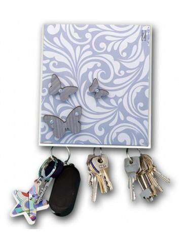Appendichiavi 3 posti in ceramica con stampa + appl. farfalle in legno MAM-10 Serie Cinzia Negò