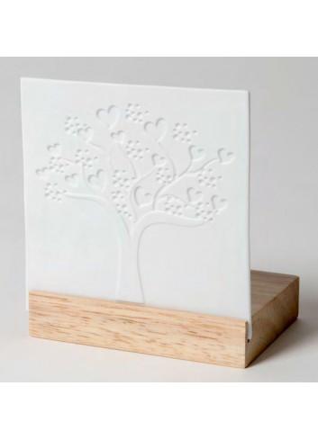 Porta tealight in legno e porcellana con disegno Albero della vita A9501 Trasparenze Ad Emozioni