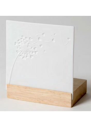 Porta tealight in legno e porcellana con disegno Soffione A9502 Trasparenze Ad Emozioni