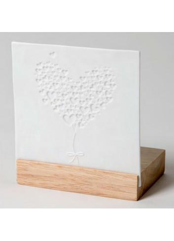 Porta tealight in legno e porcellana con disegno Palloncino cuore A9501 Trasparenze Ad Emozioni