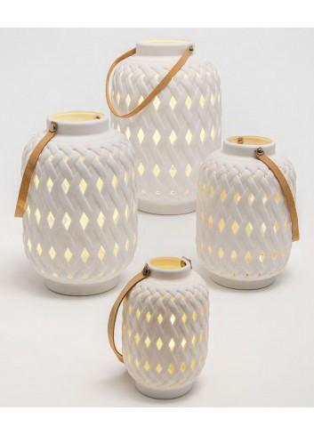 Lanterna traforata in ceramica con led A7801-2-3-4 Bali Ad Emozioni