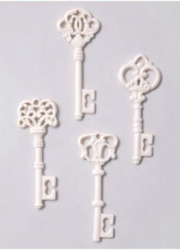 Chiave lucida bianca in porcellana 4 modelli assortiti A5101-B Passe-Partout Ad Emozioni